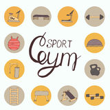 Flat design of gym items set illustration  Stock Photos