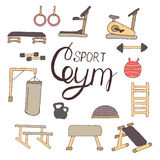 Flat design of gym items set illustration  Stock Photo