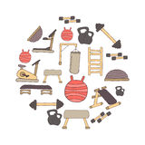 Flat design of gym items set illustration  Stock Image