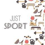 Flat design of gym items set illustration Royalty Free Stock Images