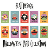 Flat Design Halloween Card Collection Royalty Free Stock Photos