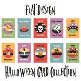 Flat Design Halloween Card Collection Royalty Free Stock Photos