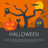 Flat design halloween concept. Royalty Free Stock Photo