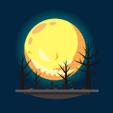Flat design halloween graveyard illustration Royalty Free Stock Photos