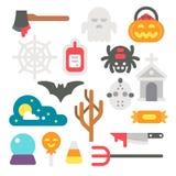 Flat design Halloween items set Royalty Free Stock Image