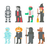 Flat design Halloween people set Royalty Free Stock Image