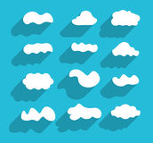 Flat design hand-drawn cloudscapes collection Royalty Free Stock Photos
