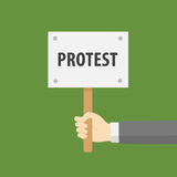 Flat Design Of Hand Holding Protest Sign. People holding placard with protest sign Stock Images