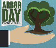 Flat Design with Hand Holding a Tree during Arbor Day, Vector Illustration. Flat design with long shadow presenting a hand holding a tiny tree, promoting tree stock illustration