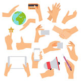 Flat design of hand icons set. Concept of hand in many character Royalty Free Stock Photography