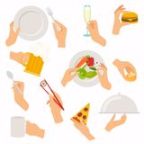 Flat design of hand icons set. Concept of hand hands hold differ Stock Images