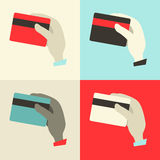 Flat Design Hands with Credit Cards Stock Photo