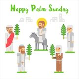 Flat design happy palm sunday. Illustration Stock Photos