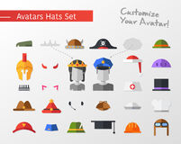 flat design hats and caps for social network avatars Royalty Free Stock Photography