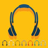 Flat design. headphones Stock Photography