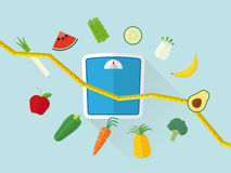 Flat Design Healthy Eating and Diet Concept. Flat design diet concept with tape measure, scales, fresh fruit and vegetables icons Stock Image