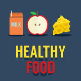 Flat Design Healthy Food Royalty Free Stock Photos