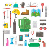 Flat design of hiking equipment set Stock Photography