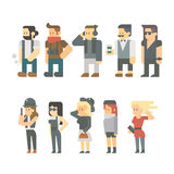 Flat design of hipster people set Royalty Free Stock Photography