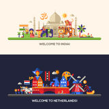 Flat design Holland, India travel banners set Royalty Free Stock Photo