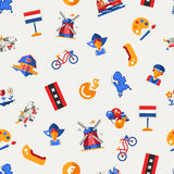 Flat design Holland travel icons, infographics elements with Dutch symbols Stock Photos