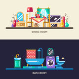 Flat design home interior banners, headers set. Set of vector modern flat design home rooms interior furniture website headers, banners set with icons and Royalty Free Stock Photos