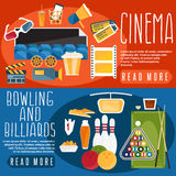 Flat design horizontal banners cinema,bowling and billiards Royalty Free Stock Image