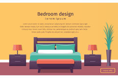 Flat design hotel room. Vector background. Room design. Banner of colorful bedroom interior in flat style. Background. Vector illustration Royalty Free Stock Photo