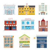 Flat design house buildings administrative religious commercial vector illustration Royalty Free Stock Photography