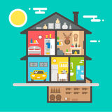 Flat design of house interior. Illustration Royalty Free Stock Images
