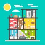 Flat design of house interior. Illustration vector Stock Photo