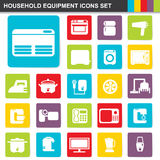 Flat design household equipment icons set Royalty Free Stock Image