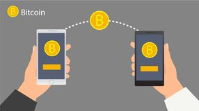 Flat design with human hands. Smartphones and golden bitcoins. Eps 10 vector file. Flat modern design concept of cryptocurrency technology, bitcoin exchange Stock Photo