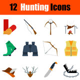 Flat design hunting icon set Stock Image
