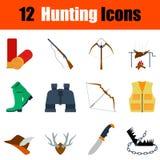 Flat design hunting icon set Stock Image