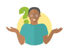 Flat design icon. Black handsome man in glasses doubts. Guy with a question mark. Simply editable isolated vector illustration Royalty Free Stock Photography