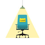 Flat design icon for business chair with Candidate message on paper. Vector. Royalty Free Stock Photos