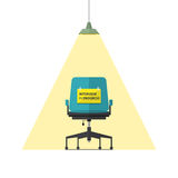 Flat design icon for business chair with Interview in progress message on paper. stock illustration
