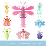 Flat design icon of different insects with lamps generator ideas Royalty Free Stock Photos
