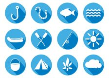 Flat design icon Fishing, camping Stock Images