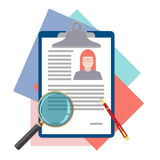 Flat design icon of human resources management. Flat design icon of searching professional staff, analyzing resume, recruitment, human resources management, work Stock Images