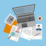 Flat design icon of human resources management Stock Photos