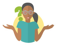 Flat design icon. Pretty black girl in glasses doubts. Woman with a question mark. Simply editable isolated vector illustration Stock Image