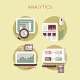 Flat design icon set of analytics elements Stock Images