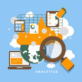 Flat design icon set of analytics elements Royalty Free Stock Photo