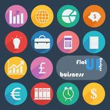 Flat design icon set - Business. Business icon set in different colors Royalty Free Stock Photography