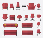 Flat design  icon set of chair and sofa in marsala color. Vector. Illustration. Royalty Free Stock Image