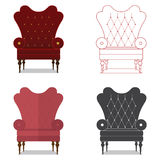 Flat design  icon set of classic chair in marsala color. Stock Photo