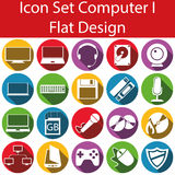 Flat Design Icon Set Computer I. With 20 icons for the creative use in web an graphic design Royalty Free Stock Photo