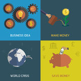 Flat design icon set. Set of flat design concept economic finance icons. Save money, business idea, world crisis, make money Royalty Free Stock Photography